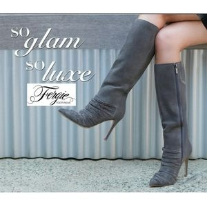 Sassy Sexy Fergie Strappy Grey Suede Boots